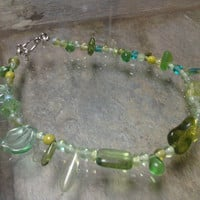 Green Glass Bead Anklet