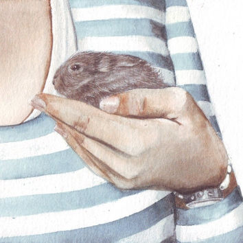 HM082 Original art watercolor painting Bunny by Helga McLeod