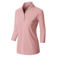 PREMIUM Active  3 4 Sleeve Polo Shirt with Stretch (CLEARANCE)