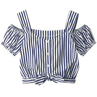 Blue Strap Puff Sleeve Vertical Stripe Blouse - Sheinside.com