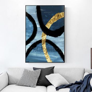 Original Abstract Gold art blue acrylic Paintings on canvas art extra Large Texture Nordic large cuadros abstractos home decor wall pictures