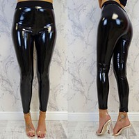 Women's Stretchy Shiny Black Faux Leather Pants