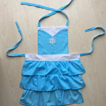 Frozen Princess queen Elsa snowflake ruffles children's kids apron costume