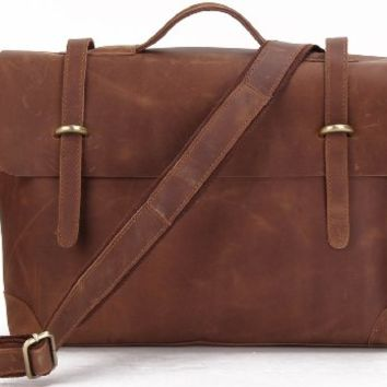 15.6 Inch Crazy Horse Leather Men's Brown Briefcase Laptop Handbag Messenger Bags