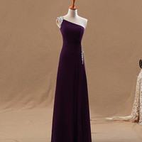 Purple beaded asymmetrical neckline full-length long A-line chiffon satin plus size evening dress special occasion dress ET220