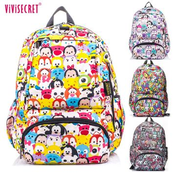 2016 Hot Sale Waterproof Cartoon Tsum Nylon Primary School bags Backpack for Boys Girls Teenagers  Graffiti Floral Harajuku