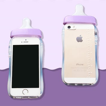 Soft Silicone TPU Cover Transparent 3D Rubber Baby Nipple Milk Bottle Feeding Clear Case For Iphone 5 5s SE Purple