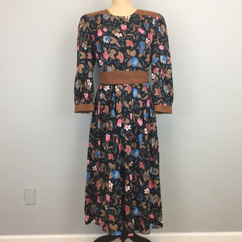 80s 90s Black Floral Dress 1980s Faux Suede Trim Size 14 Western Dress Black Brown Blue Rayon Belted Large Dress Long Sleeve FREE SHIPPING