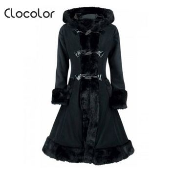 Clocolor Women Black Hooded Winter Wool Coat Full Sleeve Autumn Winter Warm Female Long Cloaks Outwear Back Lace Up Wool Coat - Beauty Ticks
