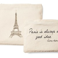 S/2 Paris Cosmetic Bags, Natural