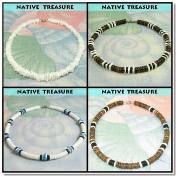 Native Treasure -  Set of 4 Puka Shell Necklaces Surfer Beaded Puca Choker