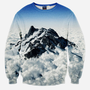 Rocky Mountains All Over Print Mountains Scenery and Beautiful Clouds Blue & White Crew Neck Sweatshirt