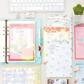 Cute Kawaii Colored To Do List Weekly Planner Bills Travelers Notebook Agenda Filofax School Supplies Free Shipping 2380