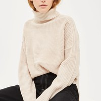 Boxy Rib Roll Neck Jumper - Jumpers & Cardigans - Clothing