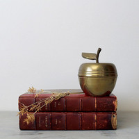 Vintage Brass Apple Trinket Dish - Apple of My Eye Vintage Brass Apple Catch All Dish - Teacher's Desk Accessory