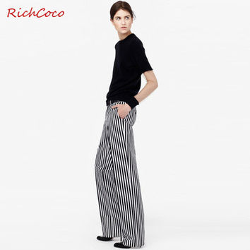 Women Stripes Printed Black White Casual Loose a13364