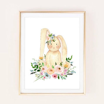 Bunny Rabbit Animal Nursery Art Watercolor Print | Floral Woodland Forest | Printable Instant Download