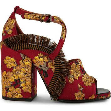 DRIES VAN NOTEN - Tapestry embellished heeled sandals | Selfridges.com