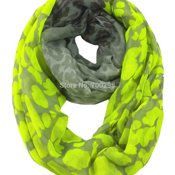 Neon Leopard Animal Print Infinity Loop Scarf Snood Women's Gift Winter Accessories, Free Shipping