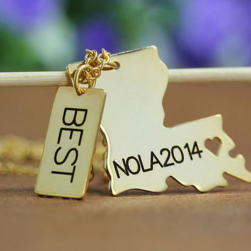 Louisiana Necklace - Louisiana Pendant with Rectangle Name Tag - 18k gold plated State Necklace - State Charm - Map necklace