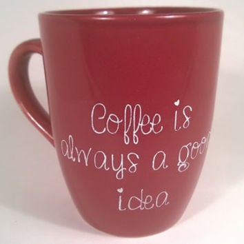 Red Coffee Mug - Ceramic Mug - Coffee Cup - Red Mug - Ceramic Coffee Mug - Holiday Mug - Red Coffee Cup - Small Mug - Ceramic Coffee Cup