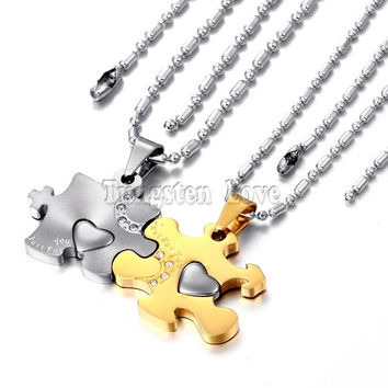 2 piece New Fashion 316l Stainless Steel Love Puzzle Pendant Couple Necklaces for Lover Valentine Gift (One Pair)