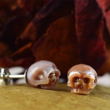 Hand Carved Pink Pearl Skull Stud Earrings