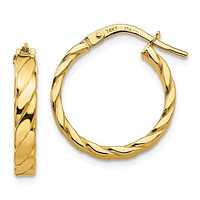 14k Gold 19 mm Patterned Hoop Earrings