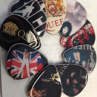 Queen/ Freddie Mercury vinyl record guitar picks ( set of 9)