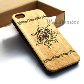 Indian Henna Paisley Flower iPhone 5C case, iPhone 5S 5 case, Wood cover, Bamboo, Cherry wood, Sapele wood, FREE screen protector [A02]