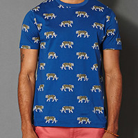 Tiger Print Tee Blue/White