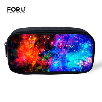 Vintage Make Up Cosmetic Bag Multicolor Galaxy Star Pen Pouch Multifunction School Children Boys Girls Pencil Bag Makeup Holder