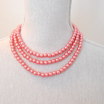 Peach necklace, Pearl necklace, Long necklace,  Wedding jewelry, Wedding necklace,  Bridesmaid necklace, Valentine gift, Mothers day