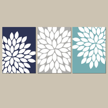 Navy Gray Teal Wall Art Bedroom Kitchen Wall Art CANVAS or Prints Bathroom Wall Art Flower Wall Art Flower Burst Dahlia Set of 3