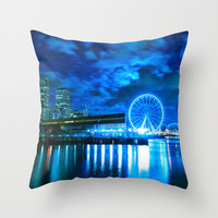 Blue Pillow Case 16x16, 18x18, or 20x20 Seattle Skyline Waterfront Great Wheel - Ferris Wheel Throw Pillow Cover - FREE WORLDWIDE SHIPPING