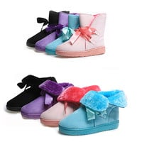 Womens Charming Ribbon Lace Winter Boots