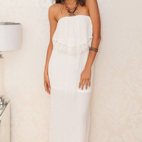 White Overlay Strapless Bandeau with Crochet Lace Accent Cut-Out Back Maxi Dress
