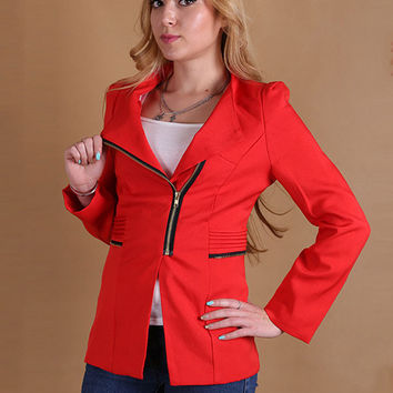 Long Sleeve Blazer with Zipper