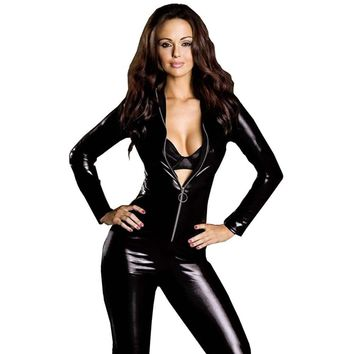 Super Sexy Adult Black PVC Leather Like Tight Coverall Bodysuits 2XL