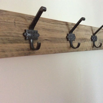 Made in England Cast Iron Coat Hooks, Wood and Metal Rack, Rustic Wood Coat and Hat Rack, Reclaimed Wood, Cast Iron, Made in England