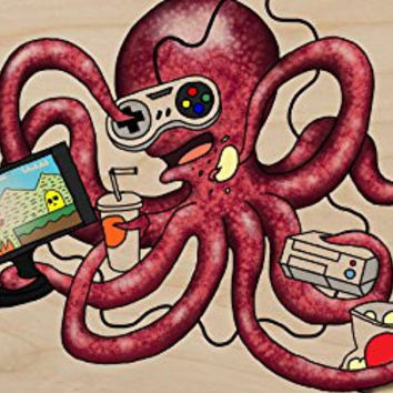 'More Tentacles to Party Octovideo' Funny Octopus Playing Video Games - Plywood Wood Print Poster Wall Art