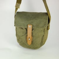 Vintage Military Green Canvas Tompson Type Pouch Bag, Drum Magazine Pouch, Ammunition Bag, Military Messenger Bag, Smartphone Military Bag