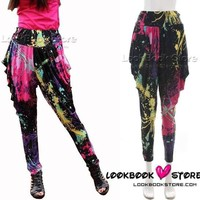 Womens Tie Dye Stretch Colourway Graffiti Fluoro Neon Wheel Harem Pants Legwear