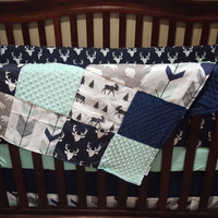 Woodland Boy Crib Bedding- Navy Buck, Moose, Bear, Fletching Arrow, Mint, and Navy Crib Bedding Ensemble