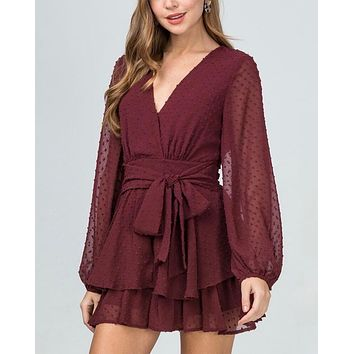 Swiss Dot Bishop Sleeve Waist Tie Tiered Ruffle Romper - more colors