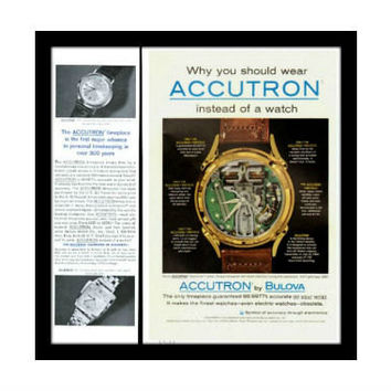1962 Bulova Accutron Spaceview Watch Ad, Vintage Advertisement Print