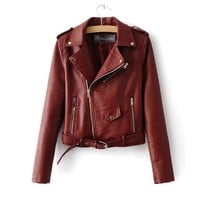 Autumn Women PU Leather Jacket Faux Leather Coat Ladies Zipper Motocycle Slim Outwear Spring Fashion Solid Jackets Mujer Jaqueta