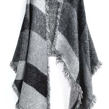 Grey Striped Fringe Scarve