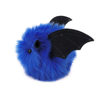 Jet the Bat Blue Fluffy Stuffed Animal Toy Plushie - 4x5 Inches Small Size