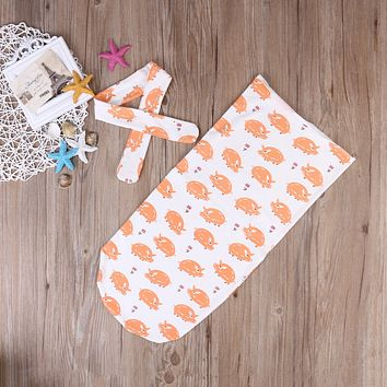 2Pcs/Set Muslin baby Swaddle blanket Baby Swaddle+Headband Newborn Baby Bath Towel Swaddle Blankets Multi Functions Baby Wrap